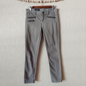 J. Crew Toothpick Ankle Jeans Moto Zippers Olive